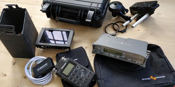 Sound Devices 702T, TVLogic VFM-056W, Tascam DR-100MKII, Edelkrone Pocket Rig och Focus One