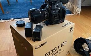 Canon c100 mii ink. Objektiv, regnskydd, laddare, minneskort osv...