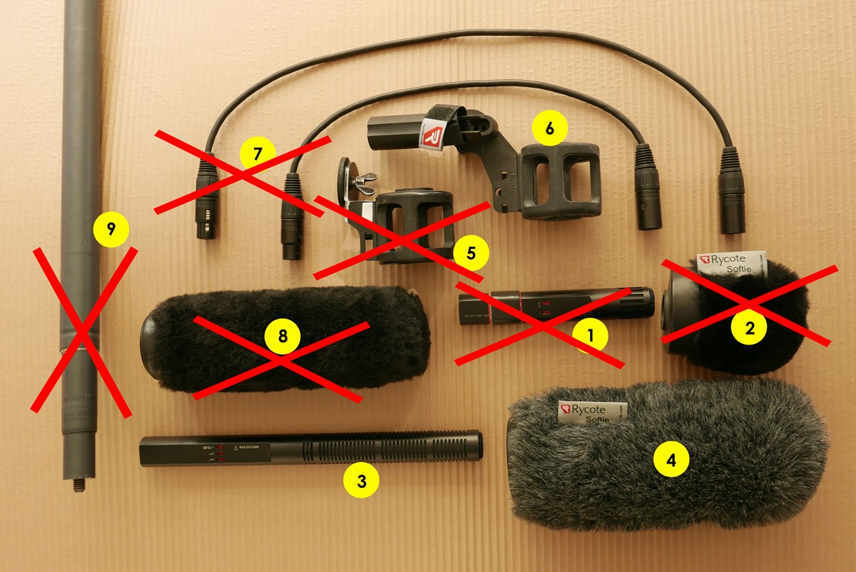 Sennheiser MKH-60, Rycote-softie, mikrofonhållare