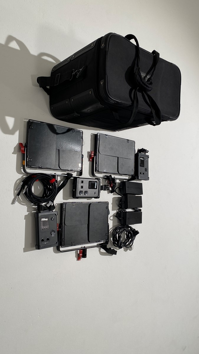 3 x Aputure Light Storm LS 1s LED Panel - Aputure Light Storm in bag with Stands